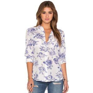equipment / henri floral silk button down blouse